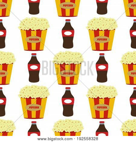 Popcorn in red and white cardboard box is shaking snack cinema box movie food seamless pattern vector illustration. Classic bucket stripes cardboard pop corn.