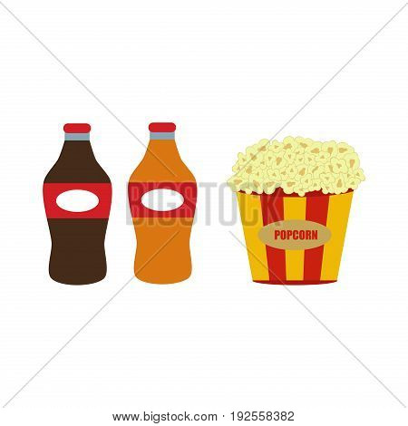 Popcorn in red and white cardboard box is shaking snack cinema box movie food vector illustration. Classic bucket stripes cardboard pop corn.