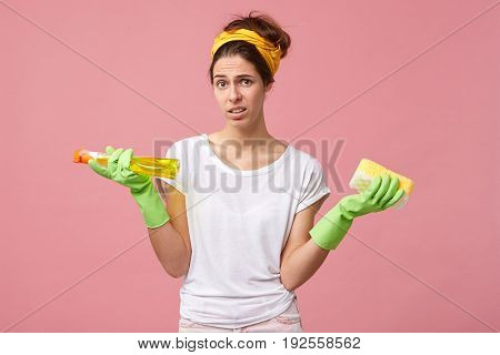 Hygiene, Housekeeping And Cleanness Concept. Unwilling Young Wife Having Worried Unappy Look While D