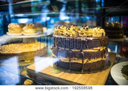 Dessert Concept On Dark Table