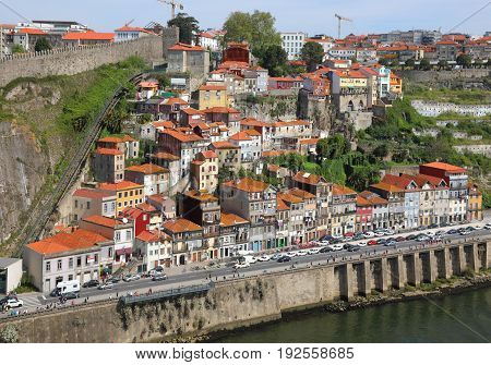 Old Porto city from bird eye view at sunny summer day Portugal.