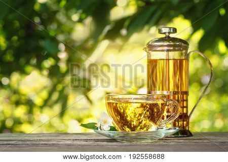 jasmine tea and jasmine flowers on wooden table with blurred green natural background. Glass teapot and cup of herbal tea. Tea time concept. Photo with copy space