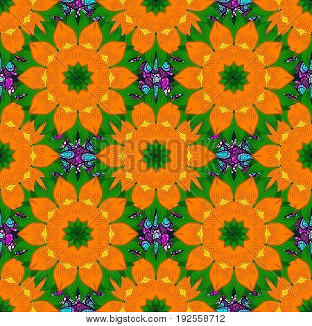 Textile print for bed linen jacket package design fabric and fashion concepts. Abstract vector seamless pattern flower design in colors. Floral seamless pattern with watercolor effect.