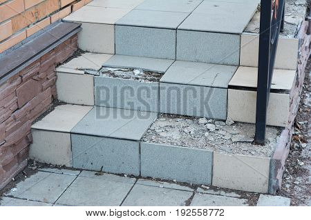 Broken House Entrance Steps Need to Repair. Damaged Home Stair Case Outdoor.