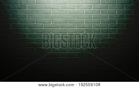 green brick wall with light effect and shadow, abstract background photo