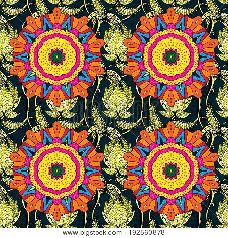 Abstract vector seamless pattern flower design in colors. Floral seamless pattern with watercolor effect. Textile print for bed linen jacket package design fabric and fashion concepts.