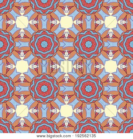 Abstract vector seamless pattern flower design in blue colors. Floral seamless pattern with watercolor effect. Textile print for bed linen jacket package design fabric and fashion concepts.