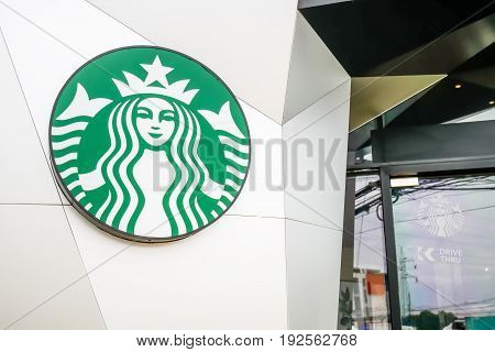 KHON KAEN , THAILAND, 17 JUNE 2017 :Starbucks logo at Starbucks drive thru coffee shop. Starbucks is the world's largest coffeehouse company