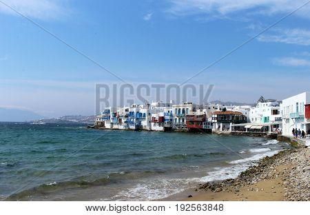 The beautiful Little Venice area of Mykonos Town on a sunny day in Mykonos, Greece