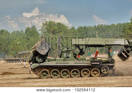 Tyumen, Russia - June 21, 2017: Army Games. Safe Route contest. Passage making by IMR engineer vehicle