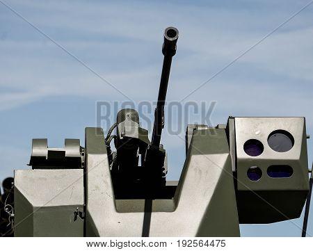 machine gun on war car close up