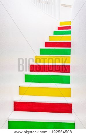 Colorful upward stairs. Colorful steps. Stairway composition.