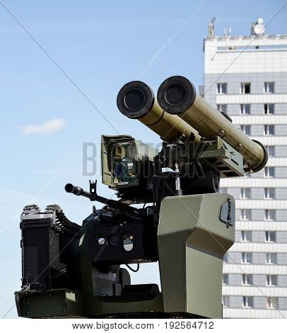 Grenade launcher and machine gun, mobile installation for warfare close up