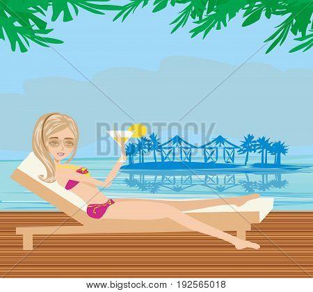 Pretty girl enjoying elegant spa , vector illustration