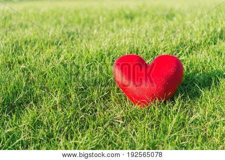 Red soft heart small pillow shape for Valentines day on green grass background with sunlight and copy space selective focus