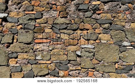 Composite old block stone wall polychrome background