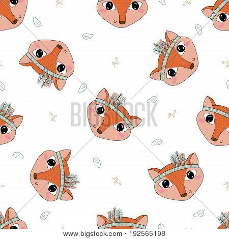 Hand drawn vector Cute seamless pattern with Fox.