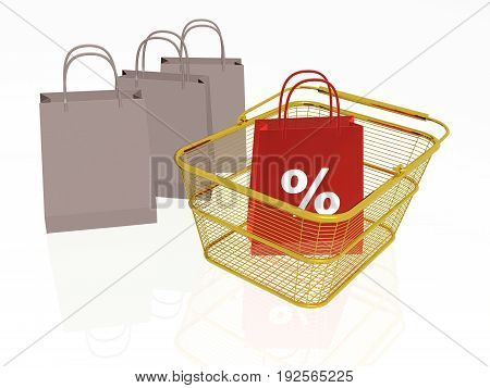 Shopping bag in the basket white background 3D illustration.