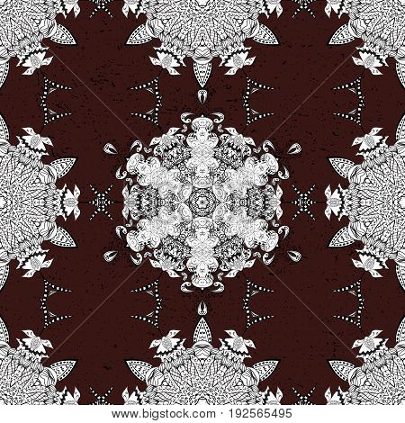 Traditional orient ornament. Classic vintage background. Classic vector white seamless pattern. Seamless pattern on brown background with white elements.