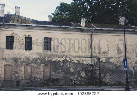 a building in city center in ruin