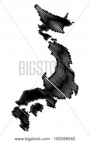 Japan map vector illustration , scribble sketch Japan