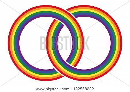 Two intersecting gay pride rainbow colored circles. Combined rings in the LGBT movement flag colors. Symbol for gay marriage, tolerance and peace. Isolated illustration on white background. Vector.