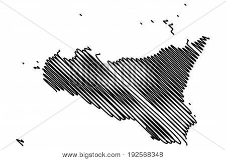 Sicily island map vector illustration , scribble sketch Sicily island