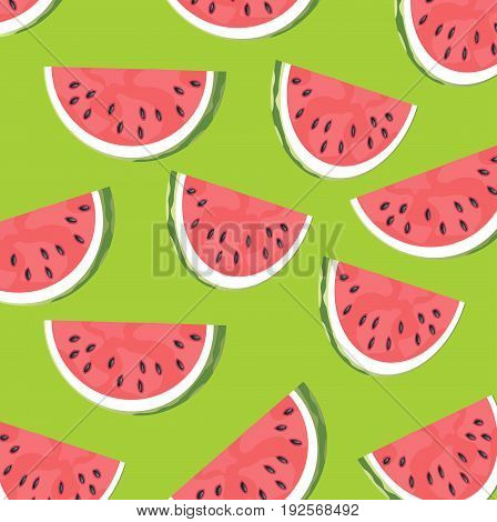 Cut slice of the ripe watermelon on green background