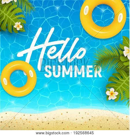 Hello summer web banner background. Sea or pool with sand and palm. Hello Summer Holiday party beach template backdrop. Vector illustration.