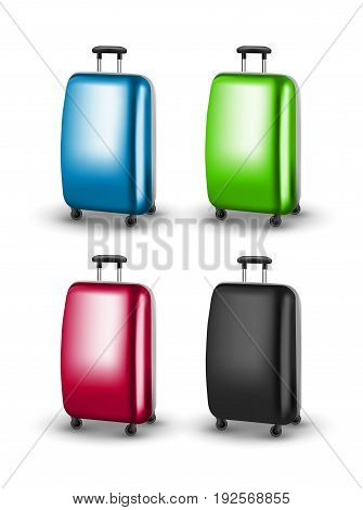 Vector traveler suitcases. Baggage for journey tourism. Suitcase for vacation.