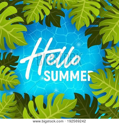 Hello summer web banner background. Sea or pool with palm. Hello Summer Holiday party beach template backdrop. Vector illustration.