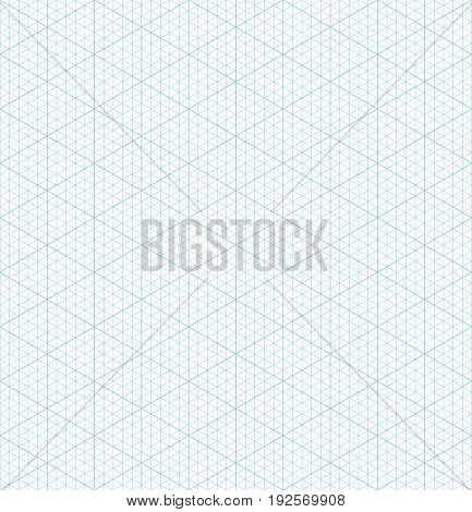 Blue vector isometric grid graph paper accented every 5 steps seamless pattern