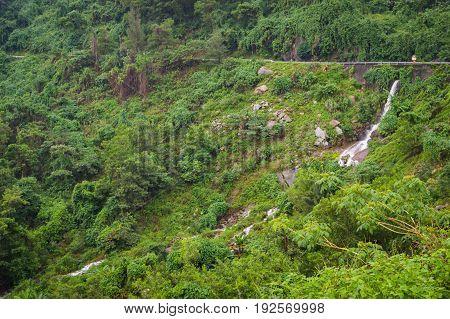 Mountain River With Waterfall In Hai Van Pass.