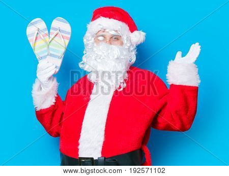Funny Santa Claus Have A Fun With Flip Flops