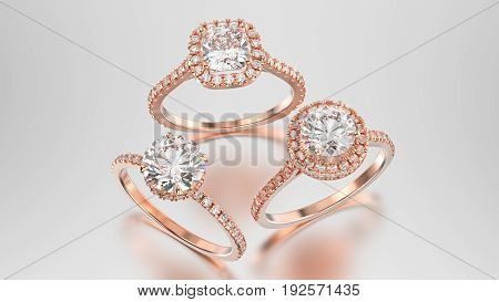 3D illustration three different rose gold diamonds rings with reflection on a grey background
