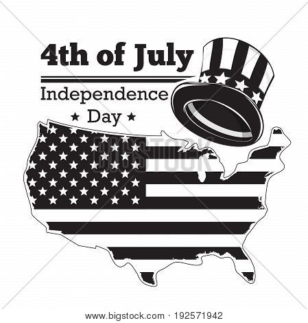 US Independence Day logo design. Fourth of July. Festive icon. USA symbols. Map of the United States and Hat of Uncle Sam. Vector illustration