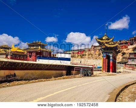 View of Yarchen Gar Monastery in Sichuan China