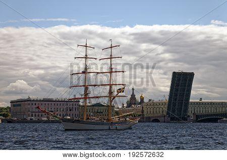 SAINT-PETERSBURG, RUSSIA - 23 JUNE 2017: TRE KRONOR, swedish brig. Sailing vessel on Neva river, Saint-Petersburg, Russia