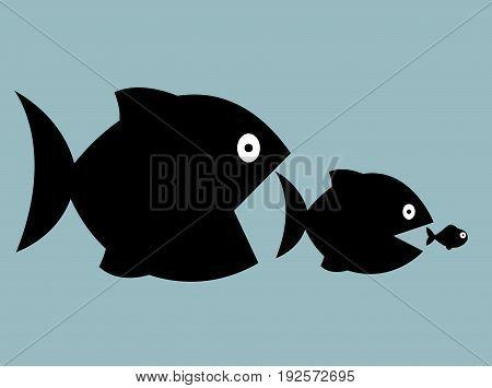Cartoon big fish eat little fish illustration