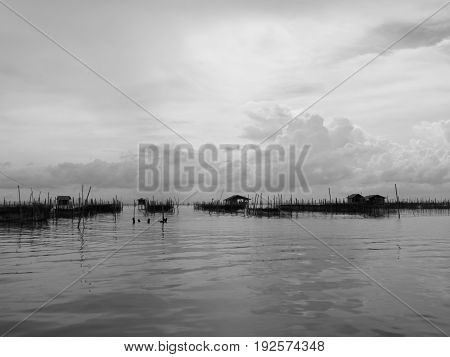 Black and white tone of homestay and floating basket in lake at Kohyo Songkhla Thailand with beautiful sky and clouds. This is traditional fisheries area.