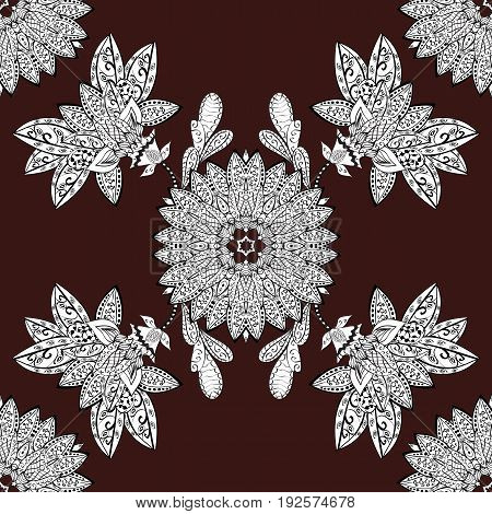Vintage seamless pattern on a brown background with white elements. Christmas 2018 snowflake new year.