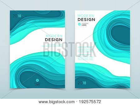 Modern design of business brochure. Vector template of the annual report. Turquoise and white flyer in A4 size with abstract cut paper.