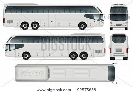 White coach bus template for car branding and advertising. Isolated passenger transport set on white background. All layers and groups well organized for easy editing and recolor. View from side front back top.