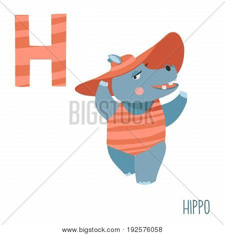 Vector kids illustration of cute animal alphabet. Letter H for the Hippo and Hat. Cartoon hippo girl in hat on the beach isolated on white background for child illustration, baby shower, birtday card, invitiation, T-shirt. Preschool and school reading stu