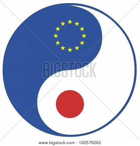 EU and Japan. Concept sign for the Free Trade Agreement and Economic Partnership between the European Union and Japan