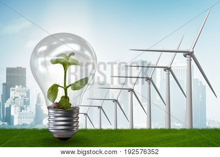 Alternative energy concept with windmills - 3d rendering