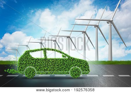 Electric car concept with windmills - 3d rendering