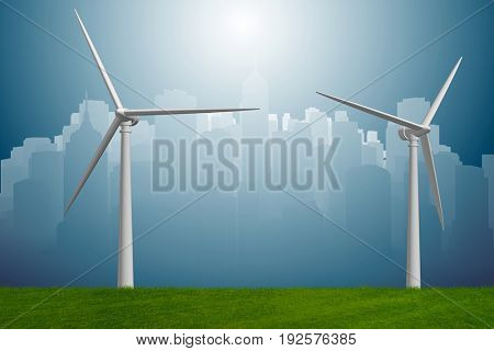 Concept of alternative energy with windmills - 3d rendering