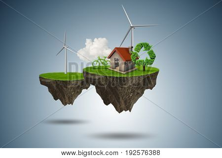 Flying floating island in green energy concept - 3d rendering