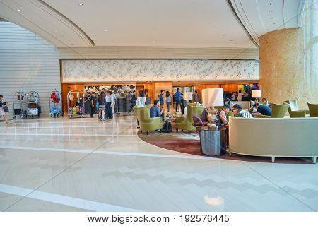 HONG KONG - CIRCA SEPTEMBER, 2016: Four Seasons Hotel Hong Kong Lobby. Four Seasons Hotel Hong Kong is a five-star hotel building in the Sun Hung Kai Properties.